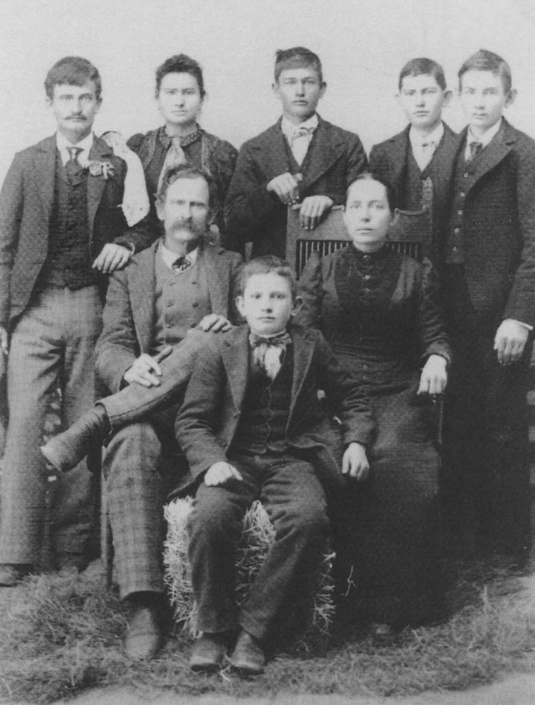 Top left to bottom: Robert Thomas, Mae Etta, James Marion, Emmitt Thomas, Monroe McGee, Robert Copeland, Elizabeth Jane and Andy Faulkner. 1896 Scurry County, Texas
